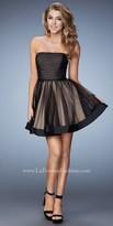 La Femme Horizontal Stripe Sweetheart Cocktail Dress