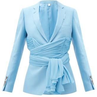 Burberry Single-breasted Chiffon-waist Wool-blend Jacket - Light Blue