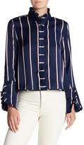 Romeo & Juliet Couture Striped Ruffle Neck Shirt