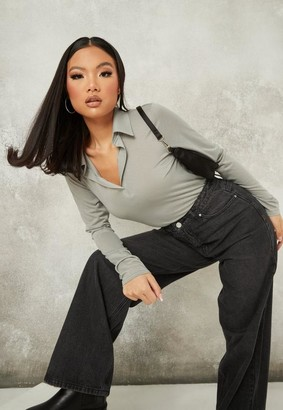 Missguided Gray Semi Sheer Long Sleeve Polo T Shirt