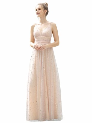 Ever Pretty Ever-Pretty Womne's V Neck Elegant Empire Waist Long Prom Dresses with Glitter Blush 14UK