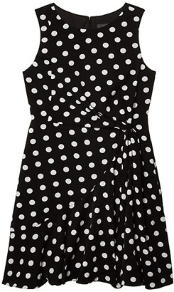 Adrianna Papell Dot Printed Fit-and-Flare Dress (Black/Ivory) Women's Dress