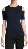 MICHAEL Michael Kors Cold-Shoulder Short-Sleeve Ribbed Sweater, Navy