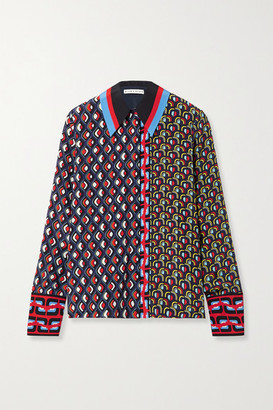 Alice + Olivia Alice Olivia - Willa Printed Silk Shirt - Navy