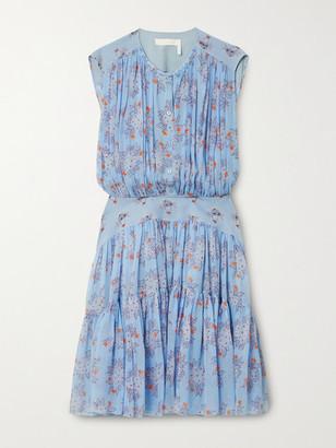 Chloe - Tiered Gathered Floral-print Silk-georgette Mini Dress - Blue