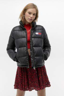 Tommy Jeans Quilted Puffer Jacket - black XS at Urban Outfitters