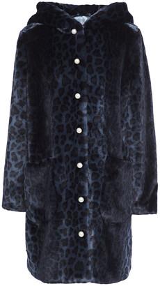 Shrimps Button-embellished Leopard-print Faux Fur Hooded Coat