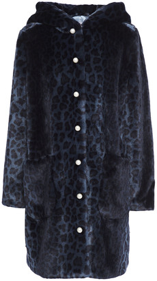 Shrimps Leopard-print Faux Fur Hooded Coat