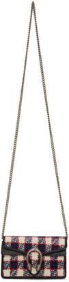 Gucci Navy Supermini Tweed Dionysus Chain Bag