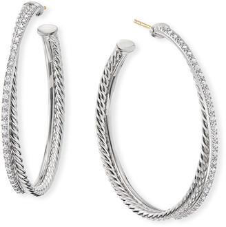 David Yurman DY Crossover Extra-Large Hoop Earrings w/ Diamonds
