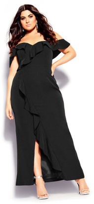 City Chic Savannah Maxi Dress - black