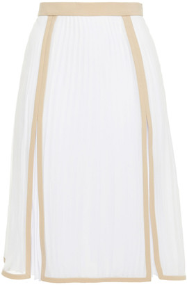 Burberry Pleated Two-tone Silk Crepe De Chine Skirt