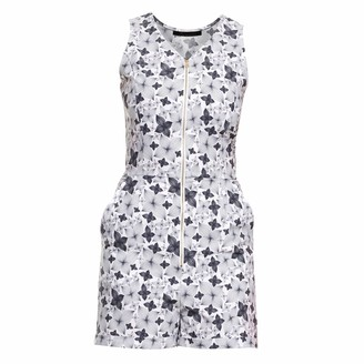 Philosofée By Glaucia Stanganelli Charcoal Floral Print Romper Playsuit
