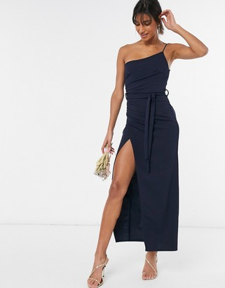 Little Mistress one-shoulder bridesmaid dress with side split in navy