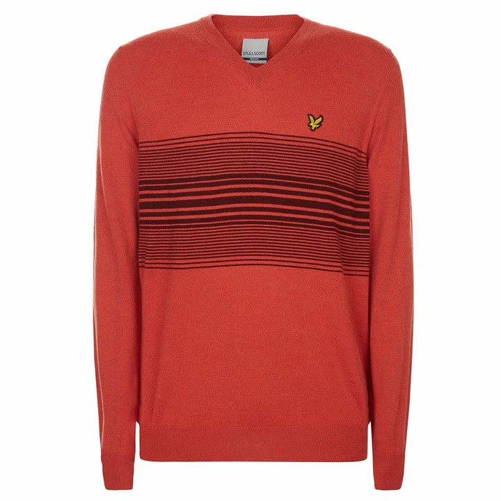 Thumbnail for your product : Lyle & Scott Mens Stripe V Neck Sweater - Deep Pink - L
