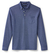 Classic Men's Supima Oxford Dress Polo Shirt-Navy/Teal Rugby Stripe
