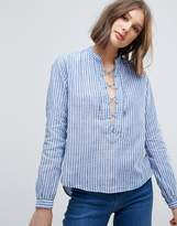 Pepe Jeans Lace Up Front Stripe Blouse