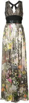 Monique Lhuillier pleated floral gown - women - Silk/Polyamide/Polyester/Viscose - 2