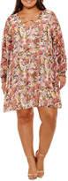 Boutique + + Long Sleeve Floral Sheath Dress-Plus