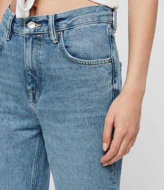 AllSaints Brooke Hi High-Rise Straight Jeans, Indigo Blue