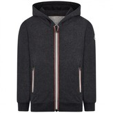 Moncler MonclerBoys Charcoal Grey Zip Up Top With Signature Striped Zips