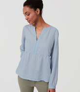 LOFT Chambray Peplum Softened Shirt