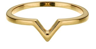Vamp London Attitude 14ct Yellow Gold Plated Sterling Silver Stacking V Ring - Size Q ATR037-YG-SIZEQ