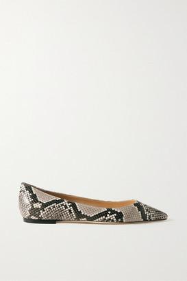 Jimmy Choo Romy Snake-effect Leather Point-toe Flats - Snake print