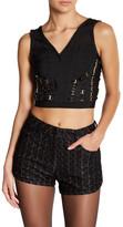 Wow Couture Mesh V-Neck Crop Shirt