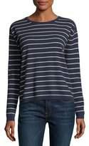 Neiman Marcus Striped Cashmere Crewneck Pullover