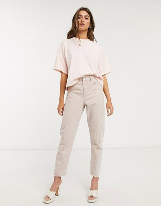 Topshop IDOL mom jeans in washed pink