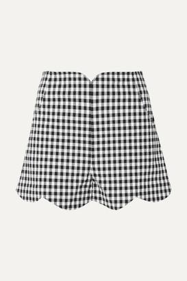 Paper London Peche Scalloped Gingham Cotton-blend Seersucker Shorts - Black