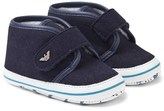 Armani Junior Navy Faux Suede Crib Shoes