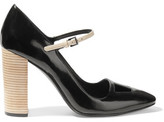 Tory Burch Faye Cutout Glossed-Leather Pumps
