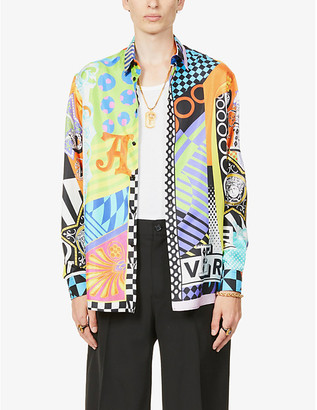 Versace Graphic-print relaxed-fit silk shirt