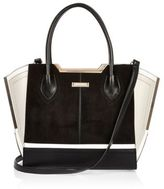 River Island Womens Black and white suede winged tote bag