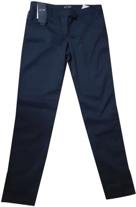 Armani Jeans Blue Cotton Trousers for Women