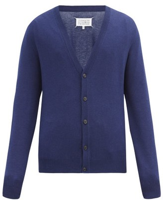 Maison Margiela Elbow-patch V-neck Cotton-blend Cardigan - Navy