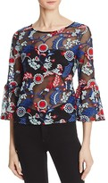 Aqua Embroidered Bell Sleeve Top - 100% Exclusive