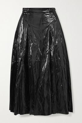 REJINA PYO Malia Belted Pleated Crinkled Coated Satin-twill Midi Skirt - Black