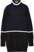 Tim Coppens Striped Merino Wool Turtleneck Sweater - Midnight blue