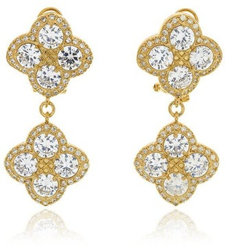 Georgina Jewelry Gold Chandelier Diamond Flower Earrings
