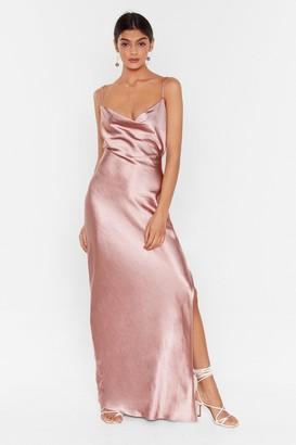 Nasty Gal Womens Tie Low Satin Maxi Dress - Blush