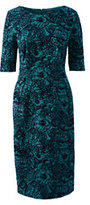 Classic Women's Petite Elbow Sleeve Ponté Sheath Dress-Emerald Jewel Flocked Floral