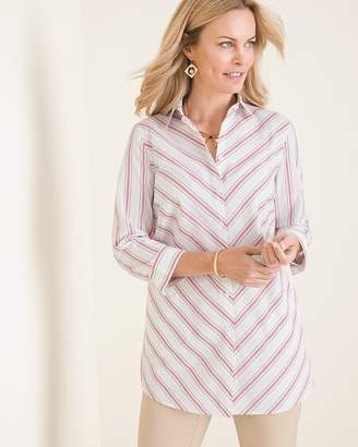 No Iron Cotton-Blend Striped Stain Shield Pocket Tunic