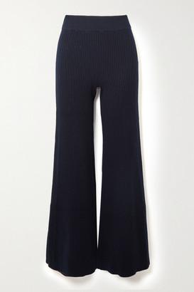 Chloé Ribbed Wool-blend Flared Pants - Navy