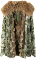 Mr & Mrs Italy - raccoon fur camouflage field jacket - women - Cotton/Lamb Skin/Polyester/Racoon Fur - XXS