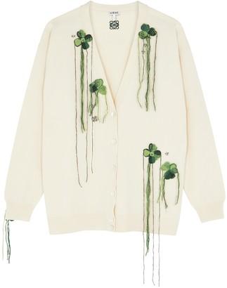 Loewe Ivory appliqued wool cardigan