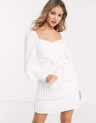 In The Style exclusive long sleeve pleated skirt skater dress in white