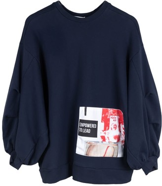 Fanfare Label Organic Cotton Oversized Jumper With Patches, Navy